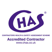 Logo and link to CHAS website  showing that we are an approved & accredited contractor electrician in Hinckley, Leicester, Leicestershire