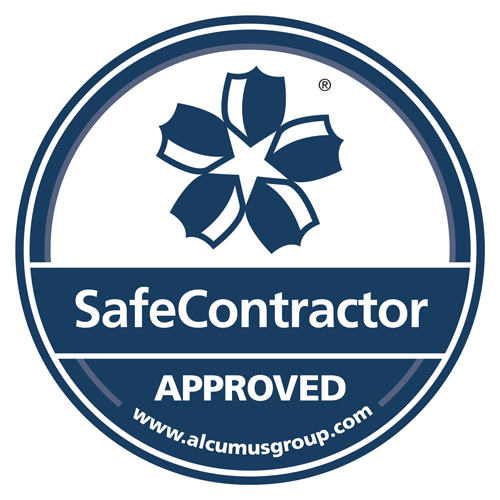 Logo and link to Alcumus Safe Contractor website  showing that we are approved contractor electricians in Hinckley, Leicester, Leicestershire