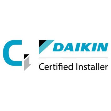 Logo and link showing we are accredited suppliers, service engineers and air conditioning installers for Daikin. Includes heating and ventilation installation engineers
